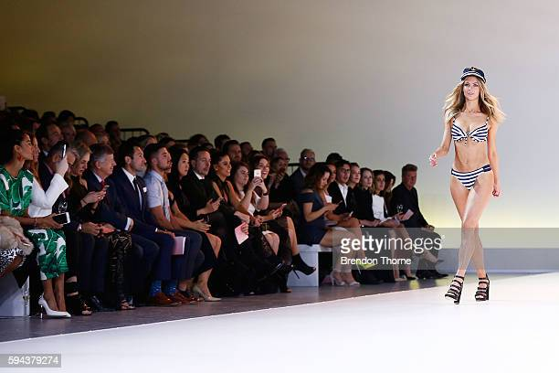 Jennifer Hawkins showcases designs by Cozi during the Myer Spring 16 Fashion Launch at Hordern Pavilion on August 23 2016 in Sydney Australia