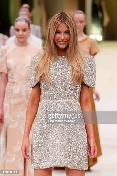 Jennifer Hawkins showcases designs by Ellery on the catwalk at the Myer Spring/Summer 2011 fashion launch at the Carriage Works on August 11, 2011 in...