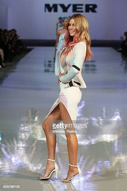 Jennifer Hawkins showcases designs by Johnny during the Myer Spring Summer 2014 Fashion Launch at Carriageworks on August 7 2014 in Sydney Australia