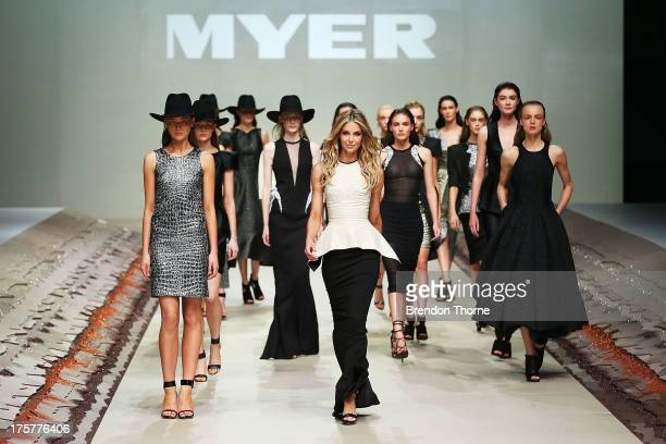 Jennifer Hawkins showcases designs by Maticevski at the Myer Spring/Summer 2014 Collections Launch at Fox Studios on August 8 2013 in Sydney Australia
