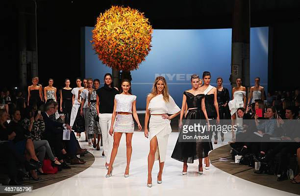 Jennifer Hawkins showcases designs by Maticevski during rehearsal ahead of the Myer Spring 2015 Fashion Launch on August 13 2015 in Sydney Australia