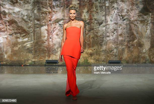 Jennifer Hawkins showcases designs by Maticevski on the runway at the Myer AW16 Fashion Launch on February 11 2016 in Sydney Australia