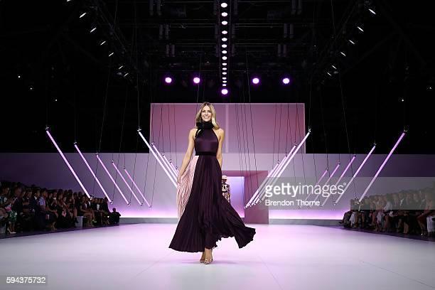 Jennifer Hawkins showcases designs by Roksanda during the Myer Spring 16 Fashion Launch at Hordern Pavilion on August 23 2016 in Sydney Australia