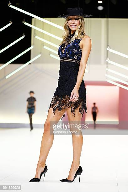Jennifer Hawkins showcases designs by Self Portrait during the Myer Spring 16 Fashion Launch at Hordern Pavilion on August 23 2016 in Sydney Australia