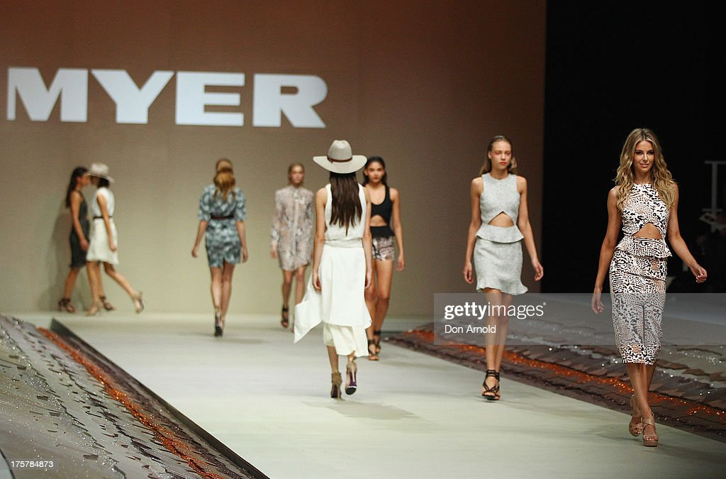 Jennifer Hawkins showcases designs by YB Jaime at the Myer Spring/Summer 2014 Collections Launch at Fox Studios on August 8, 2013 in Sydney, Australia.