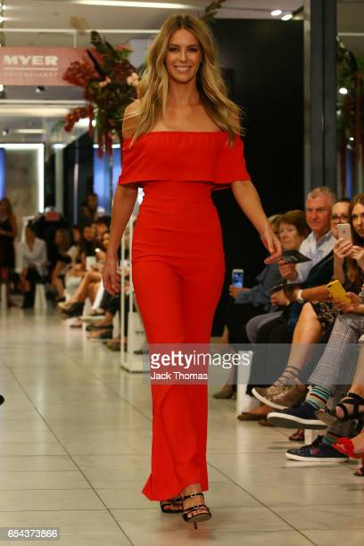 Jennifer Hawkins showcases designs during the Myer Fashion Runway show on March 17 2017 in Melbourne Australia
