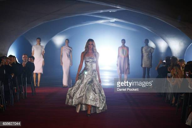 Jennifer Hawkins showcases designs on the runway during the Myer Autumn 2017 Fashion Launch on February 16 2017 in Melbourne Australia