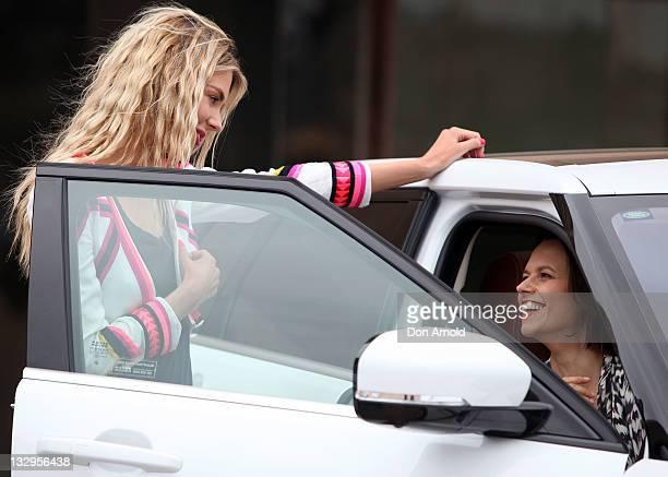Jennifer Hawkins talks to Mia Freedman during the Range Rover launch at the Sydney Opera House on November 16 2011 in Sydney Australia