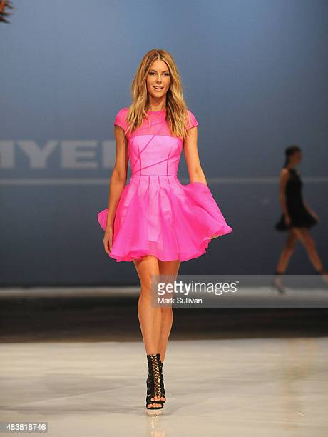 Jennifer Hawkins wearing Alex Perry during the Myer Spring 2015 Fashion Launch on August 13 2015 in Sydney Australia