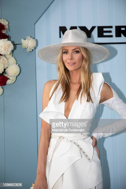 Jennifer Hawkins wearing Maticevski and millinery by Melissa Jackson poses in the Myer marquee on Derby Day at Flemington Racecourse on November 3...