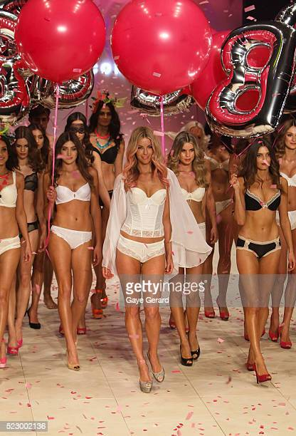 Jennifer Hawkins wears Lovable designs by Bendon Lingerie on the catwalk as part of the Mercedes Benz Fashion Festival Sydney 2012 at Sydney Town...