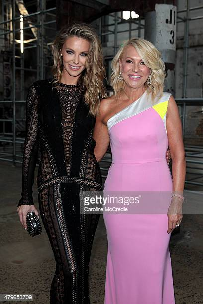 Jennifer Hawkinsa and KerriAnne Kennerley pose before the 12th ASTRA Awards at Carriageworks on March 20 2014 in Sydney Australia