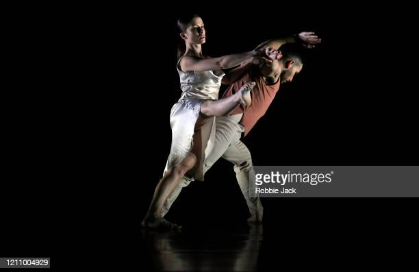 Jennifer Hayes and Jason Tucker in The Richard Alston Dance Company's production of Richard Alston's Voices And Light Footsteps at Sadler's Wells...