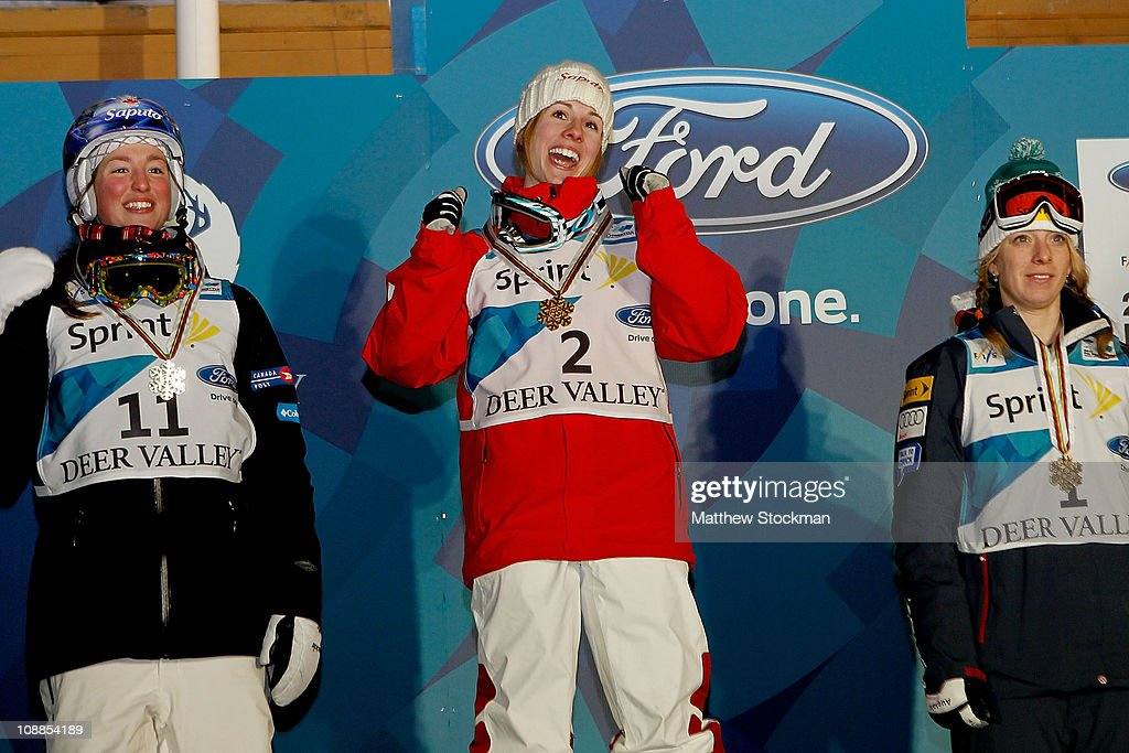 Jennifer Heil of Canada celebrates on the winners podium after the ladies' Dual Moguls final at the FIS Freestyle World Championships at Deer Valley Resort on February 5, 2011 in Park City, Utah.