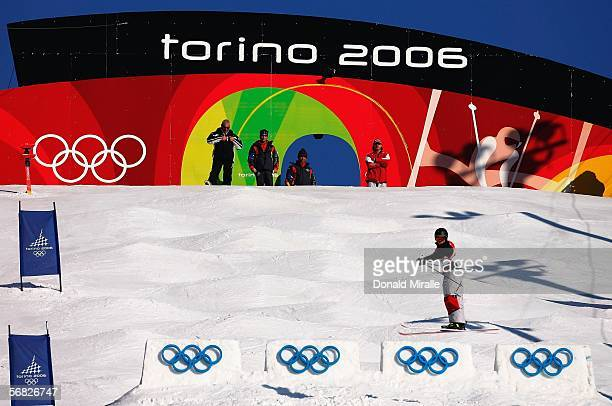 Jennifer Heil of Canada competes in the Womens Freestyle Moguls Qualifying on Day 1 of the 2006 Turin Winter Olympic Games on February 11 2006 in...