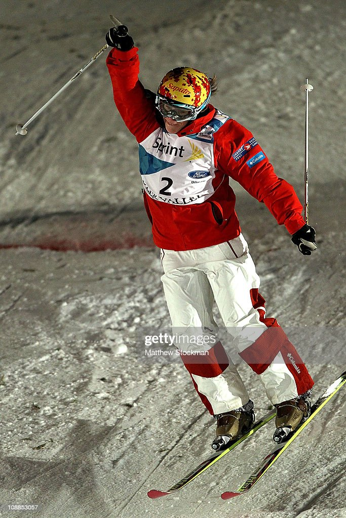 Jennifer Heil #2 of Canada crosses the finish line to win the Ladies' Dual Moguls final at the FIS Freestyle World Championships at Deer Valley Resort on February 5, 2011 in Park City, Utah.