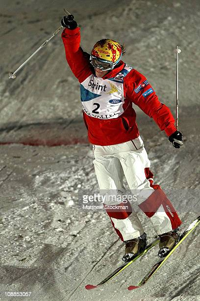 Jennifer Heil of Canada crosses the finish line to win the Ladies' Dual Moguls final at the FIS Freestyle World Championships at Deer Valley Resort...