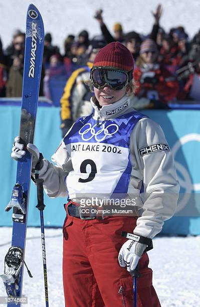 Jennifer Heil of Canada looks on after her run in the final round of the women's moguls during the Salt Lake City Winter Olympic Games on February 9...