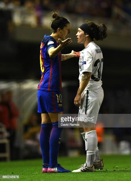 Jennifer Hermoso of Barcelona and Ella Masar of Rosengard square up during the UEFA Women's Champions League QuarterFinal Second Leg match between...