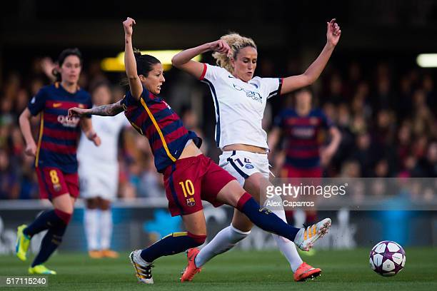 Jennifer Hermoso of FC Barcelona and Kheira Hamraoui of Paris SaintGermain fight for the ball during the UEFA Women's Champions League Quarter Final...