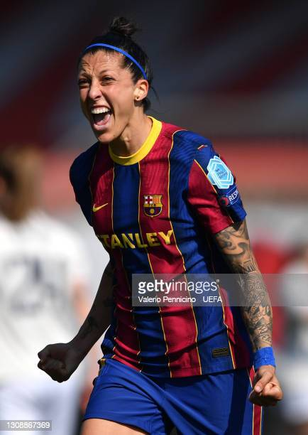Jennifer Hermoso of FC Barcelona celebrates after scoring their team's third goal during the First Leg of the UEFA Women's Champions League Quarter...