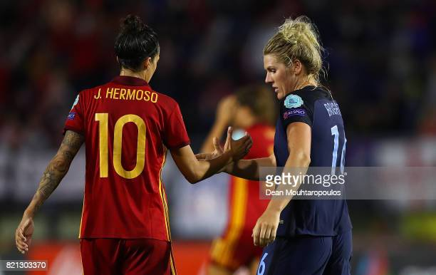 Jennifer Hermoso of Spain and Millie Bright of England shake hands following the UEFA Women's Euro 2017 Group D match between England and Spain at...