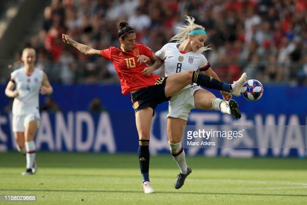 Jennifer Hermoso of Spain battles for possession with Julie Ertz of the USA during the 2019 FIFA Women's World Cup France Round Of 16 match between...