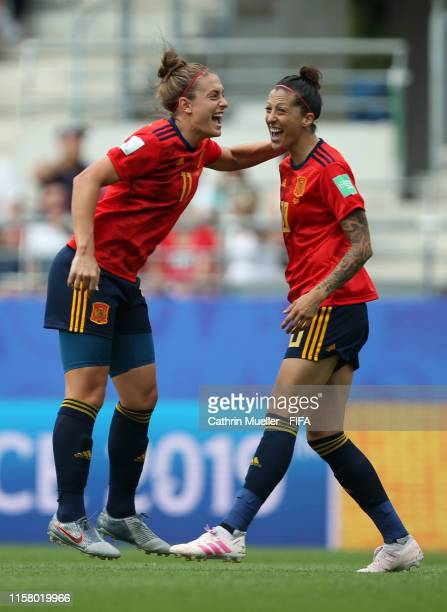 Jennifer Hermoso of Spain celebrates after scoring her team's first goal with teammate Alexia Putellas during the 2019 FIFA Women's World Cup France...