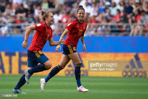 Jennifer Hermoso of Spain celebrates after scoring her team's first goal with her teammate Alexia Putellas during the 2019 FIFA Women's World Cup...