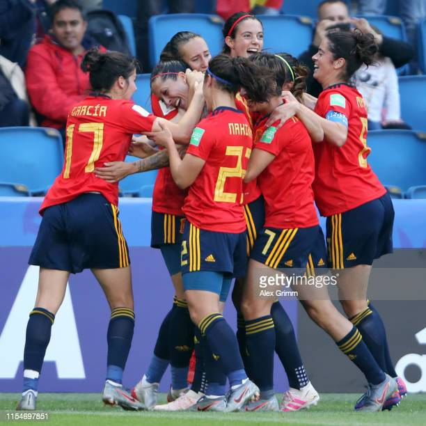 Jennifer Hermoso of Spain celebrates her team's second goal with team mates during the 2019 FIFA Women's World Cup France group B match between Spain...
