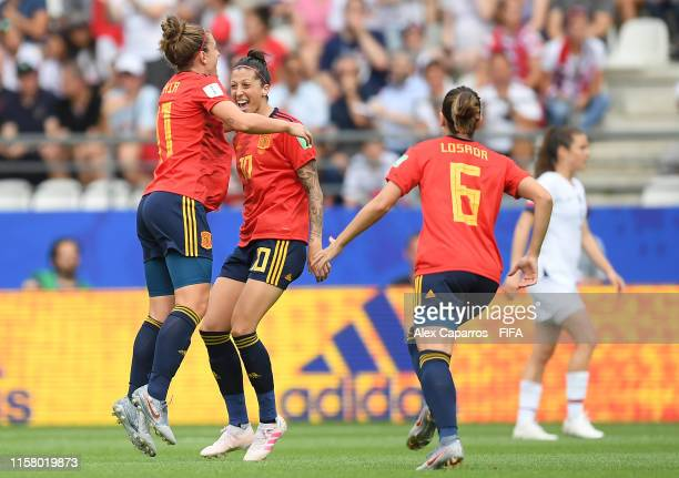 Jennifer Hermoso of Spain celebrates with her team mates after scoring her sides first goal during the 2019 FIFA Women's World Cup France Round Of 16...
