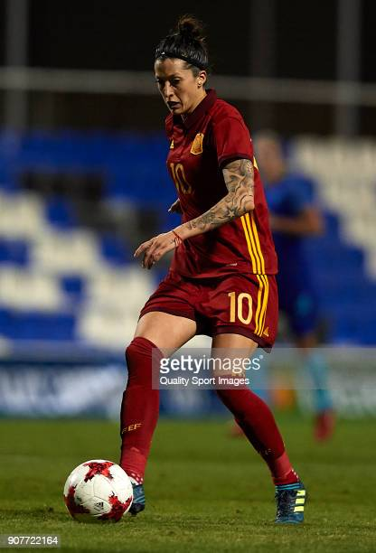 Jennifer Hermoso of Spain runs with the ball during the international friendly match between Spain Women and Netherlands Women at Pinatar Arena on...