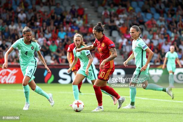 Jennifer Hermoso of Spain takes on the Portuguese defence during the UEFA Women's Euro 2017 Group D match between Spain and Portugal at Stadion De...