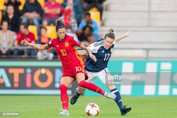 Jennifer Hermoso of Spain women Frankie Brown of Scotland women during the UEFA WEURO 2017 Group D group stage match between Scotland and Spain at...