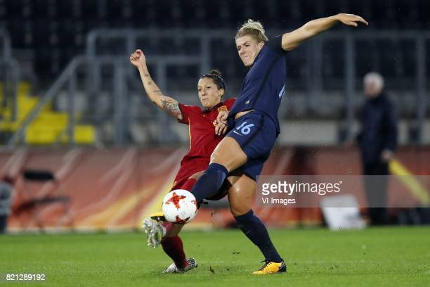 Jennifer Hermoso of Spain women Millie Bright of England women during the UEFA WEURO 2017 Group D group stage match between England and Spain at the...