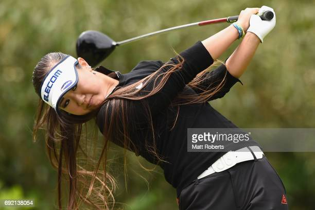 Jennifer Hirano of the USA hits her tee shot on the 4th hole during the final round of the Yonex Ladies Golf Tournament 2016 at the Yonex Country...