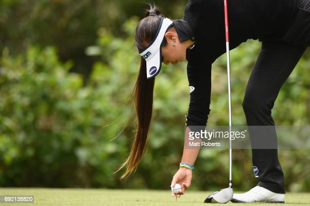 Jennifer Hirano of the USA places the ball on the tee during the final round of the Yonex Ladies Golf Tournament 2016 at the Yonex Country Club on...