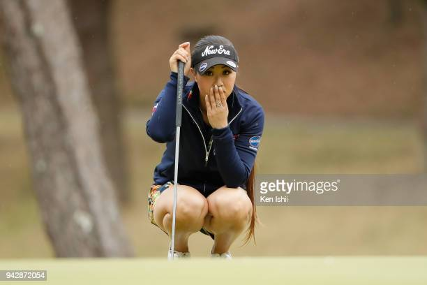 Jennifer Hirano of USA lines up for her putt on the 18th green during the final round of the Hanasaka Ladies Yanmar Golf Tournament at Biwako Country...