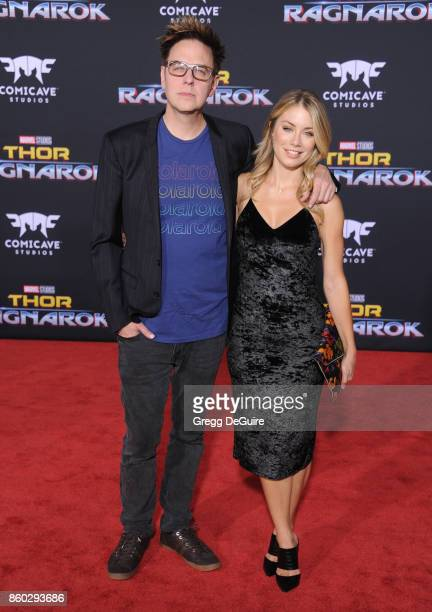 Jennifer Holland and James Gunn arrive at the premiere of Disney and Marvel's 'Thor Ragnarok' at the El Capitan Theatre on October 10 2017 in Los...