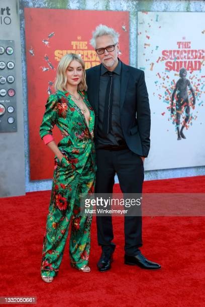 """Jennifer Holland and James Gunn attend the Warner Bros. Premiere of """"The Suicide Squad"""" at Regency Village Theatre on August 02, 2021 in Los Angeles,..."""