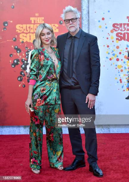 """Jennifer Holland and James Gunn attend Warner Bros. Premiere of """"The Suicide Squad"""" at The Landmark Westwood on August 02, 2021 in Los Angeles,..."""