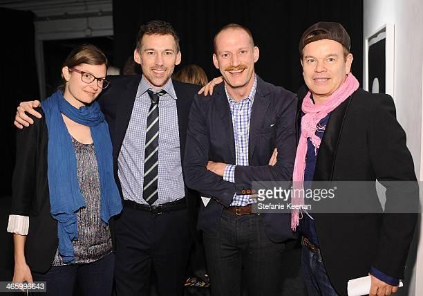 Jennifer Holmes Joel Lubin Matthew Thompson and Paul Oakenfold attend the Art Los Angeles Contemporary 2014 opening night at Barker Hangar on January...