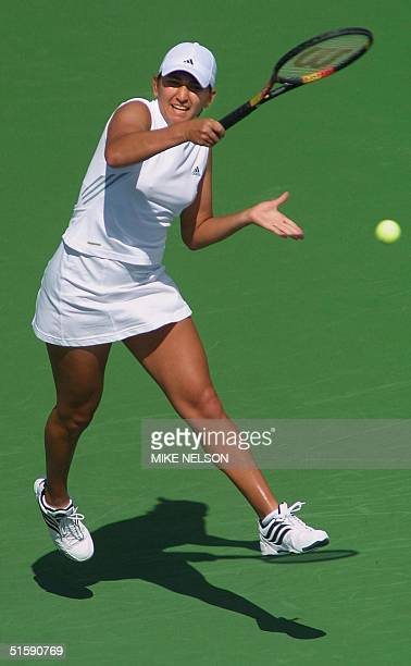 Jennifer Hopkins of the United States gets airborne during her third round match against Arantxa SanchezVicario at the Tennis Masters Series 10 March...