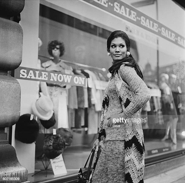 Jennifer Hosten who won the Miss World 1970 contest as Miss Grenada shopping in London UK 6th January 1971