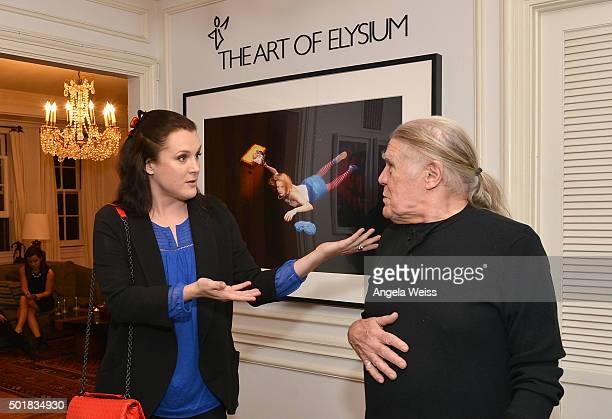 Jennifer Howell and photographer Henry Diltz attend the SAGAFTRA The Art Of Elysium and Rabbit Bandini celebrate Elysium Bandini Studios on December...