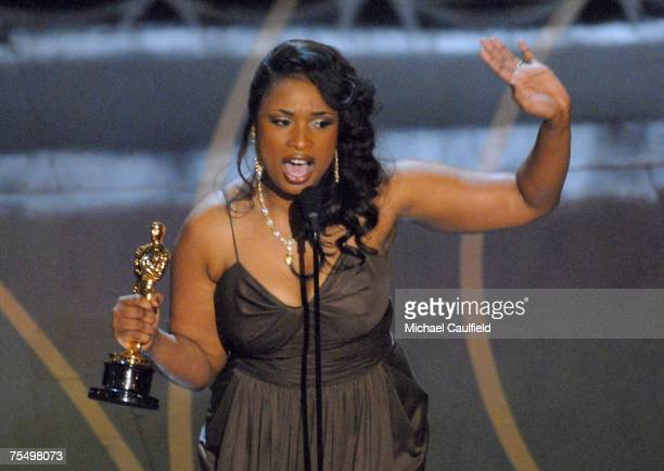 Jennifer Hudson accepts Best Actress in a Supporting Role award for Dreamgirls at the Kodak Theatre in Los Angeles California