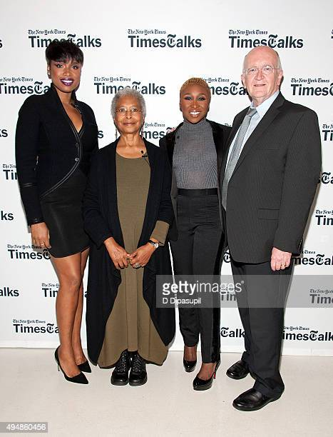Jennifer Hudson Alice Walker Cynthia Erivo and John Doyle attend 'The Color Purple' TimesTalks at The New School on October 29 2015 in New York City