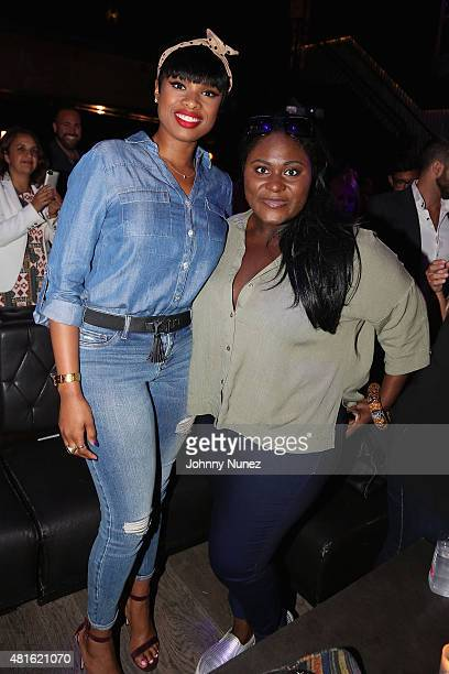 Jennifer Hudson and actress Danielle Brooks attend the #SohoJeansSingOff hosted by New York Company with Jennifer Hudson at Marquee on July 22 2015...