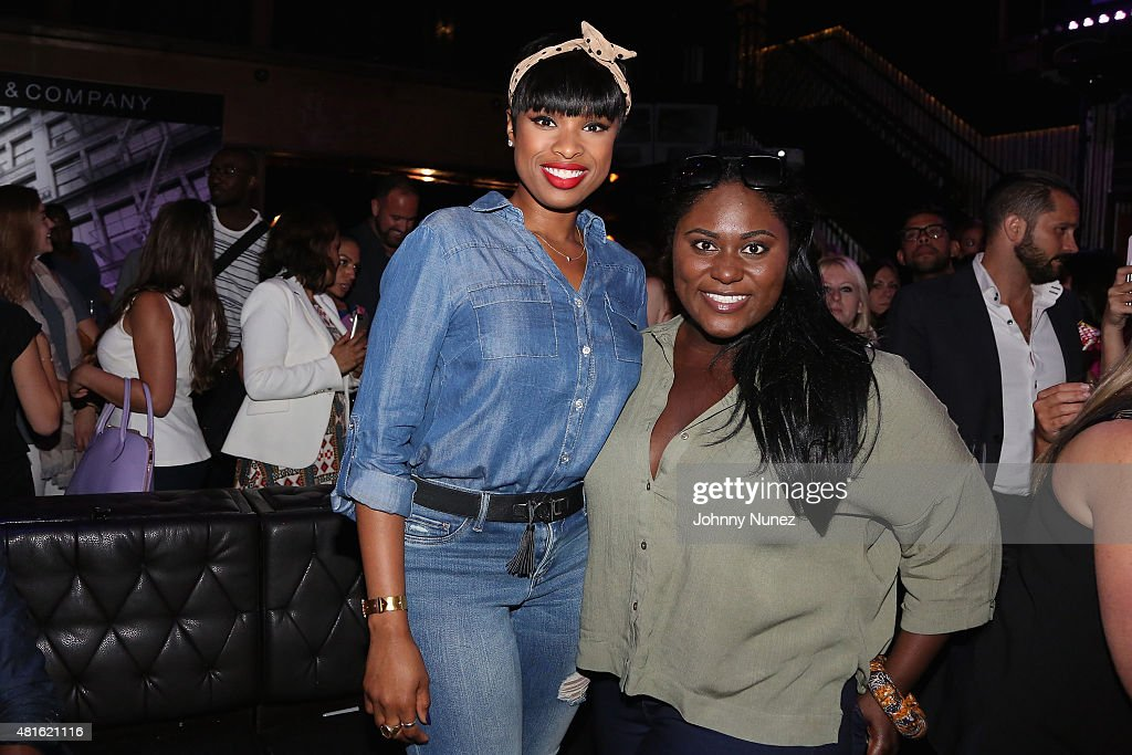 Jennifer Hudson (L) and actress Danielle Brooks attend the #SohoJeansSingOff hosted by New York & Company with Jennifer Hudson at Marquee on July 22, 2015 in New York City.