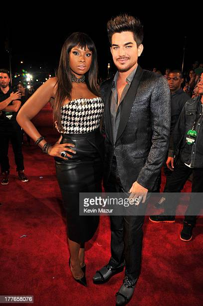 Jennifer Hudson and Adam Lambert attend the 2013 MTV Video Music Awards at the Barclays Center on August 25 2013 in the Brooklyn borough of New York...